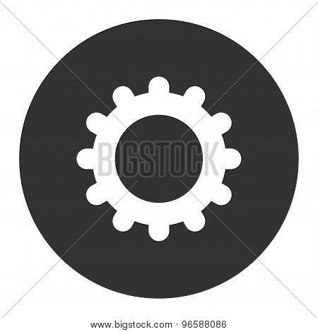 Gear flat white and gray colors round button