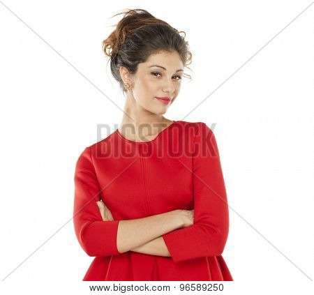 Portrait of beautiful brunette woman in studio, isolated on white