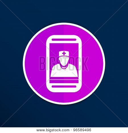 Cartoon illustration phone doctor character holding stethoscope