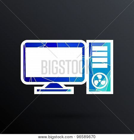 Vector Desktop Computer Icon pc symbol laptop