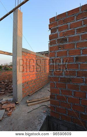 Residential Building Construction Site With Brick Block