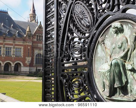 The Peace palace main wrought iron gate