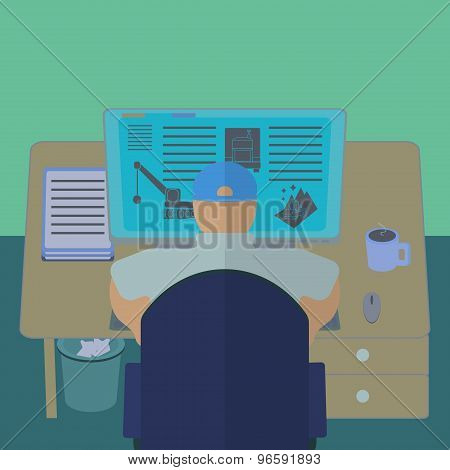 Office worker at his computer desk. Office section interior view.