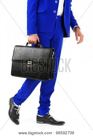 Business man with briefcase isolated on white