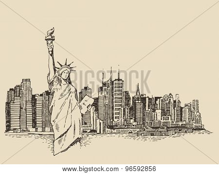 New York city with Statue of Liberty vector sketch