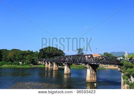 Historic bridge on river kwai in Kanchanaburi at Thailand