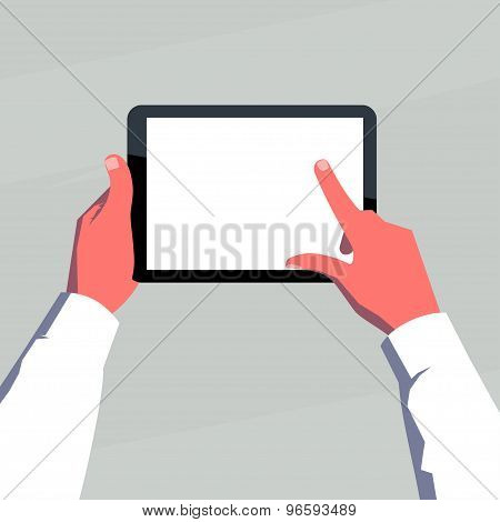 Male hands holding blank tablet horizontally.