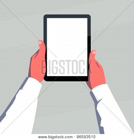 Male hands holding blank tablet vertically.