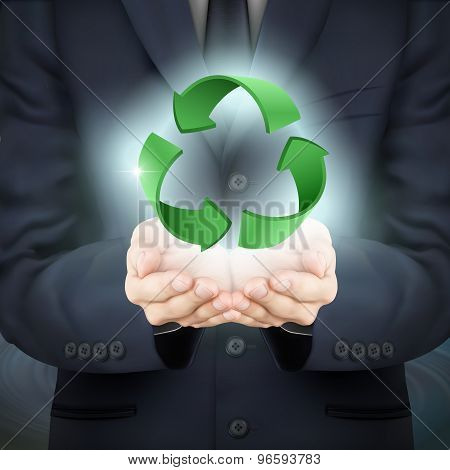 Businessman Holding Recycle Sign
