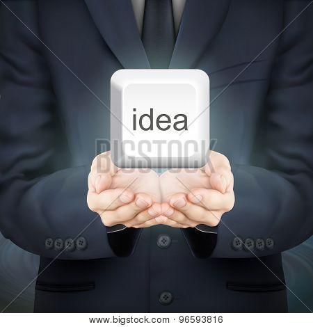 Businessman Holding Idea Keyboard Button