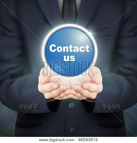Businessman Holding Contact Us Icon