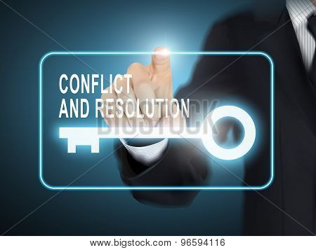 Male Hand Pressing Conflict And Resolution Key Button