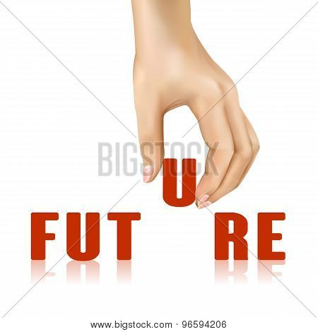Future Word Taken Away By Hand