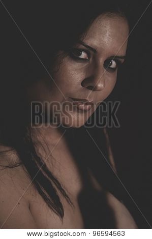 brunette woman with brown veil, Arabic young woman with green eyes and mysterious beauty