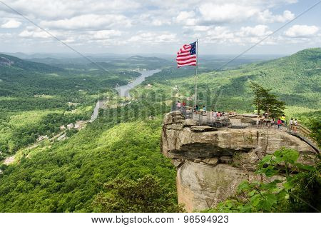 Overlooking Chimney Rock at Chimney Rock mountain State Parkand Lake Lure in North Carolina, United