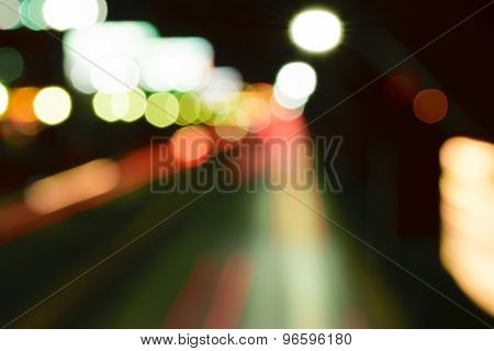 Abstract Bokeh Background Of Night Road Long Exposure