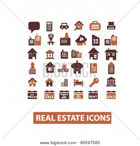 real estate, building, home, architecture, agent icons, signs, illustrations set, vector