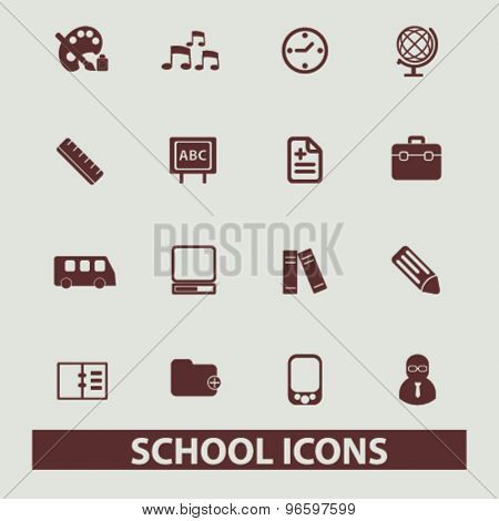 school, education, learning, lesson icons, signs, illustrations set, vector