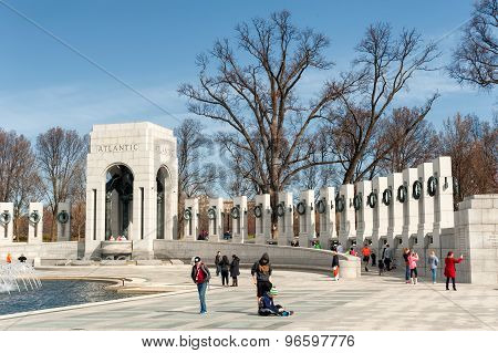 Washington DC, USA - April 05, 2015: Washington DC memorial to World War two