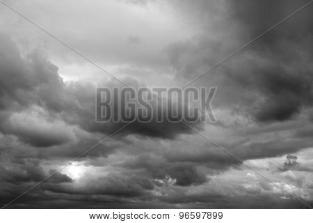 Dark ominous grey storm clouds. Dramatic sky