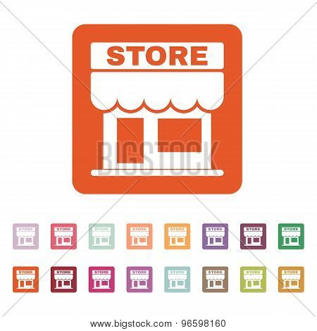 The store icon. Shop and retail, market symbol. Flat