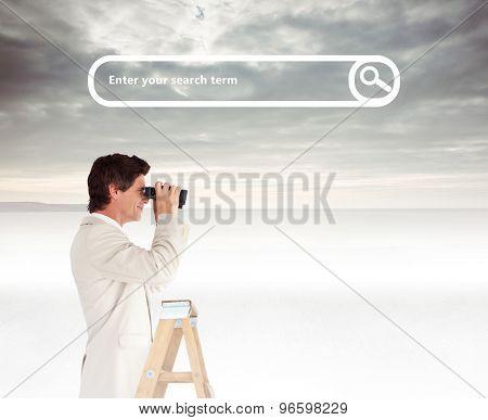 Businessman looking on a ladder against grey sky