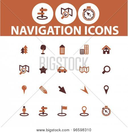 navigation, location, map icons, signs, illustrations set, vector