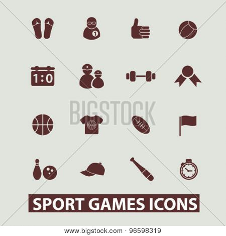 sport, games, fitness, gym icons, signs, illustrations set, vector