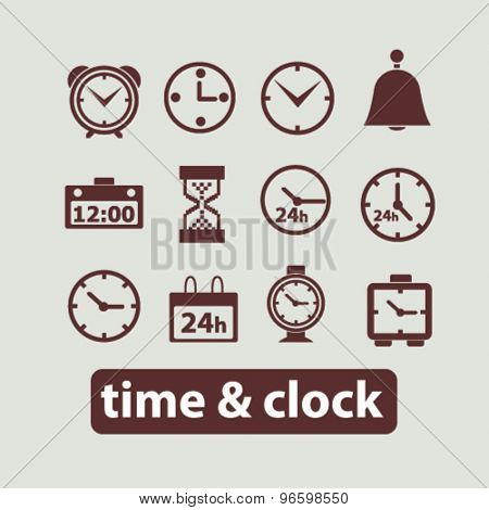 time, clock, minute, 24h icons, signs, illustrations set, vector