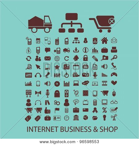 internet business, shop, retail, commerce, sales, e-commerce icons, signs, illustrations set, vector
