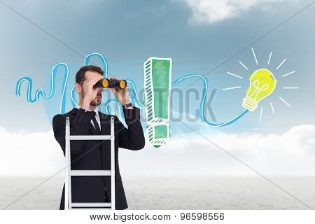 Businessman looking on a ladder against cloudy sky background