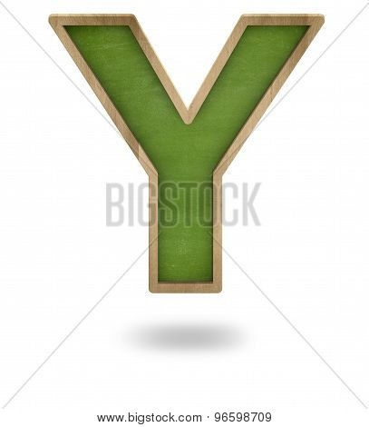 Green blank letter Y shape blackboard