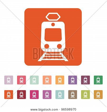 The train icon. Metro and tram, railroad symbol. Flat