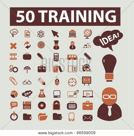 training, learning, seminar, online education icons, signs, illustrations set, vector