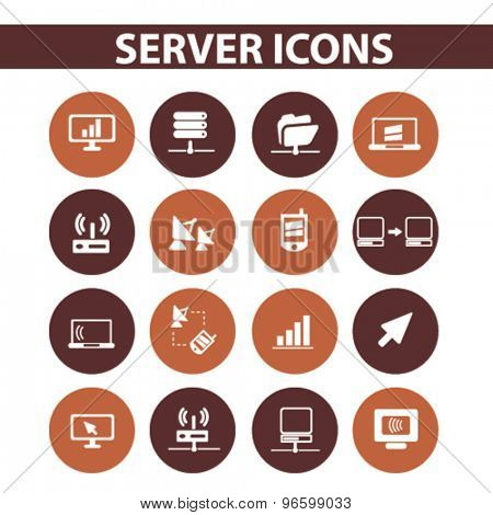 server, computer, network, technology icons, signs, illustrations set, vector