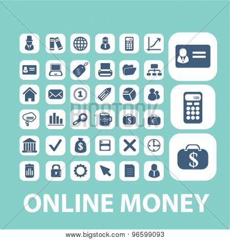 online money, banking, payment, finance icons, signs, illustrations set, vector