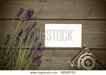 Vintage Photo With Lavender On Wooden Desk