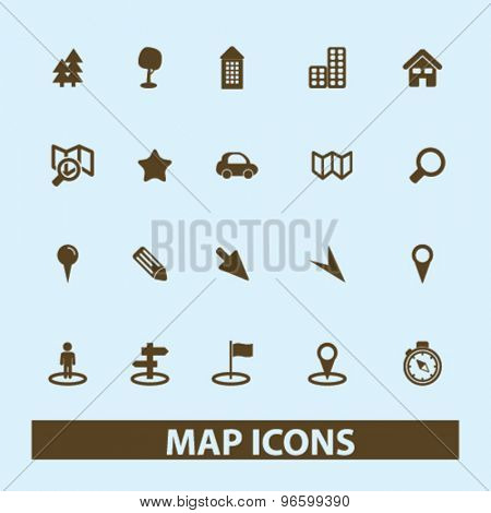 map, location, route, navigation isolated signs, icons vector set for web, application, design.