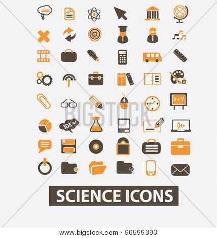 science, lab, scientist isolated signs, icons vector set for web, application, design.