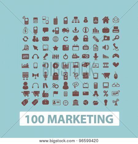 100 marketing, management, strategy, business idea isolated signs, icons vector set for web, application, design.