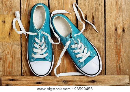Sneakers On Wood