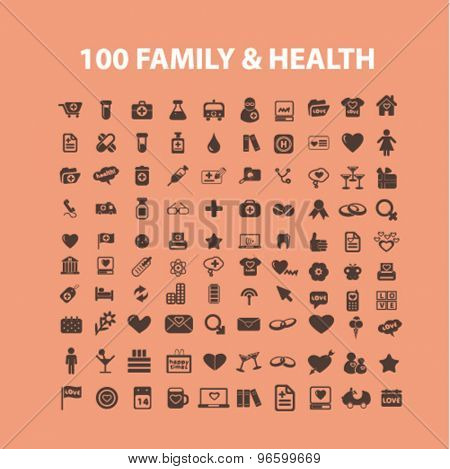 100 family, healthcare isolated signs, icons vector set for web, application, design.