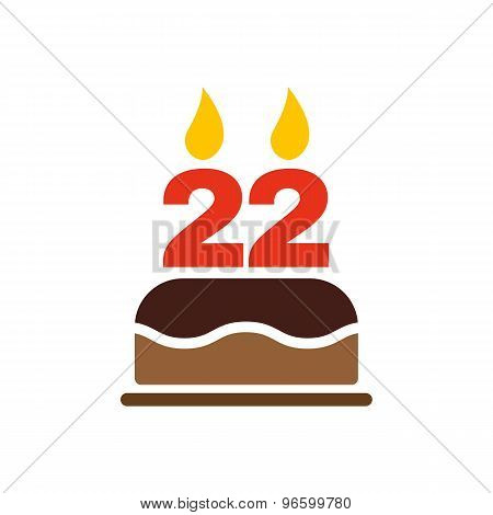 The birthday cake with candles in the form of number 22 icon. Birthday symbol. Flat