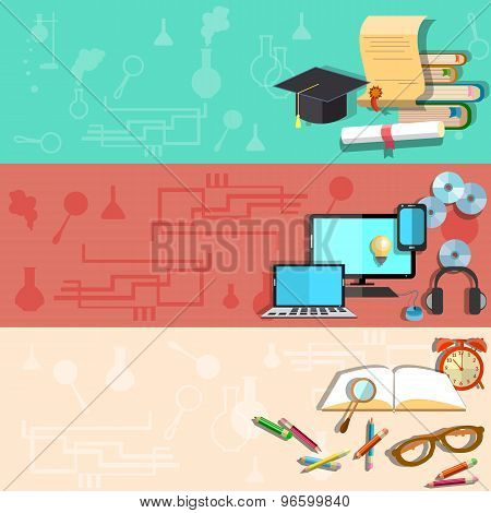 Education, Online Training, University, School, College, ?omputer, Laptop, Student, vector banners