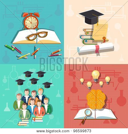 Education, Student, Teacher, University, College, School, Brain, Pencils, vector illustration