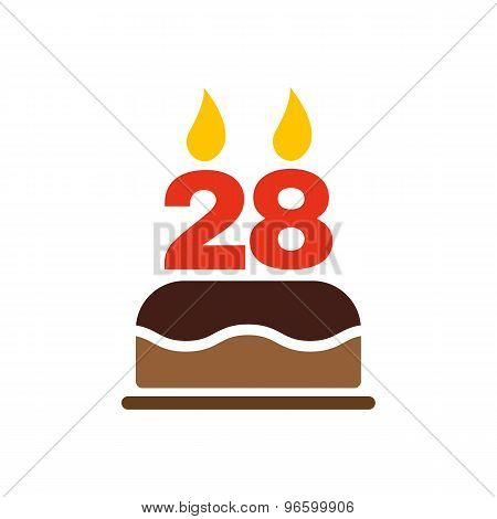 The birthday cake with candles in the form of number 28 icon. Birthday symbol. Flat