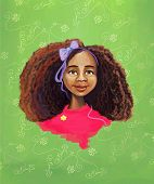 stock photo of fantastic  - Fantastic African girl with textured hair portrait painting illustration with green background - JPG