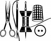 stock photo of brothel  - scissors and needles line art ink drawing - JPG