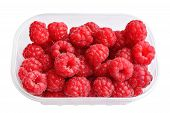 picture of picking tray  - Raspberries in plastic box isolated on white background - JPG