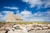 stock photo of stone house  - stone house  at the mouth of the Odet in Brittany - JPG